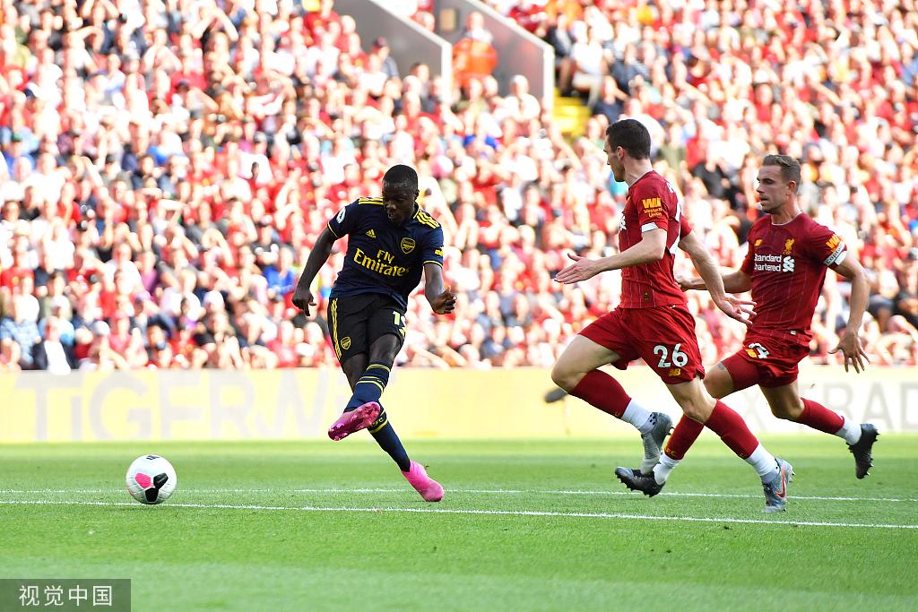 英超-托雷拉替补破门难救主 阿森纳客场1-3负利物浦
