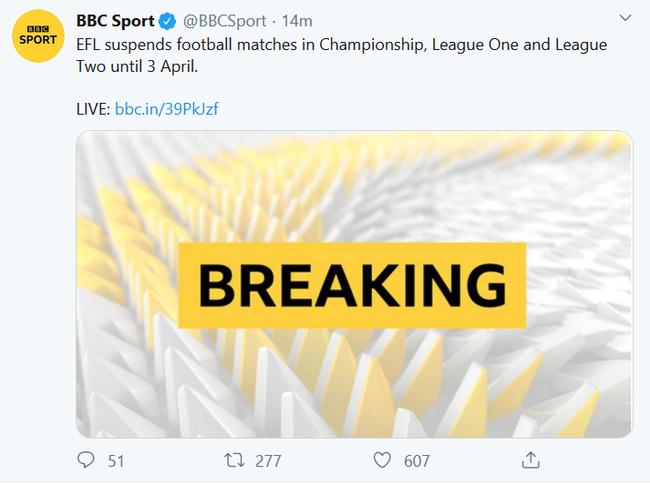 官方!英超联赛正式延期 暂停至4月4日