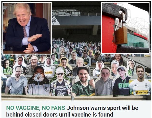没疫苗就继续空场!英超下赛季前半程或继续闭门比赛